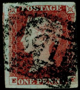 SG8, 1d red-brown PLATE 80, USED. Cat £30. EE