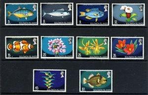 SOLOMON ISLANDS QE II 1975 Fish & Flowers Obliterated BRITISH SG 289 - 298 MNH