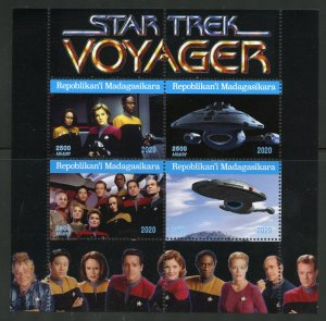 Madagascar 2020:  Star Trek Voyager sheet of four mint never hinged