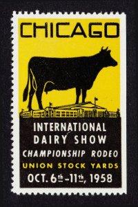REKLAMEMARKE POSTER STAMP CHICAGO INTERNATIONAL DAIRY SHOW 1958