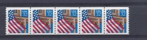 United States, 2913, Flag/Porch Plate Strip of 5 Plt#: 22222,  **MNH**