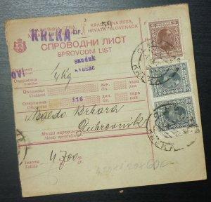 Yugoslavia 1928 Parcel Card from Kreka Bosnia to Dubrovnik Croatia A8