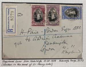 1938 Tonga Toga Registered Cover to London England Queen Salote Tabou Stamps