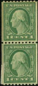 USA SC# 486 Washington 1c Perf 10 Coil Pair MNH