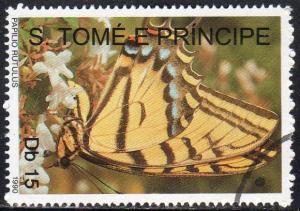 St. Thomas and Prince 949 - Cto - 15d Tiger Swallowtail (1990) (cv $1.30)