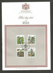 1982 Transkei Boy Scouts log raft dog FDC announcement sheetlet