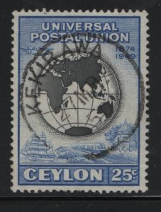 CEYLON, 306, USED, 1949, 75th anniv. of UPU symbols