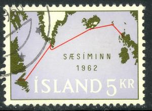 ICELAND 1962 5k Atlantic Telephone Cable Issue Sc 350 VFU