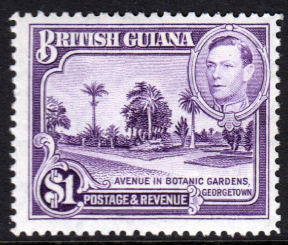 British Guiana KGVI 1938 $1 Bright Violet SG317 Mint Lightly Hinged