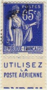 FRANCE - 1937 Pub UTILISEZ LA POSTE AERIENNE inférieure /Yv.365b 65c Paix (A1)
