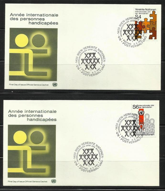 UN Vienna 1981 Intnl. Year of the Disabled Scott# 18 to 19