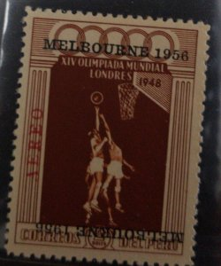 O) 1948 PERU, INVERTED, OLYMPIC GAMES HELD AT WEMBLEY OVERPRINTED MELBOURNE 1956