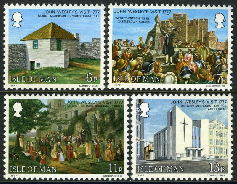 Isle of Man 105-108, MI 101-104,MNH. John Wesley's visit, bicent. Churches, 1977