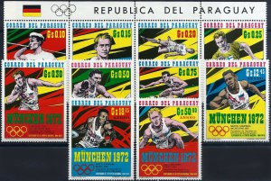 1971 Paraguay Olympic Games Munich, Decathlon Winners, complete set VF/MNH!