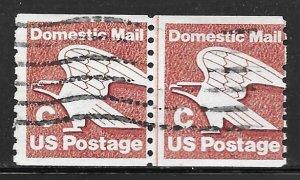 USA 1947: (20c) C stamp, line pair, used, AVG