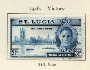 St Lucia 1946 GVI Early Issue Fine Used 3.5d. NW-154985