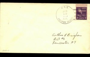 USS HOOPER ISLAND ARG-17 REPAIR SHIP  1953 NAVAL COVER with 3c STAMP F