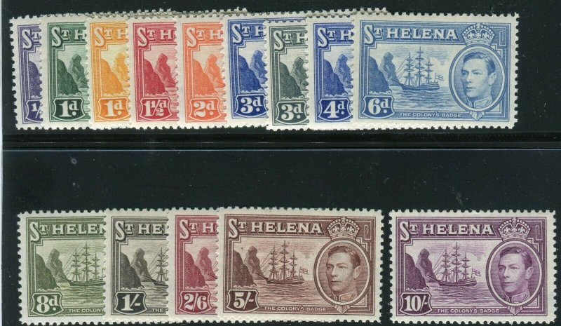1938-40 St. Helena complete set (14) KGVI King George VI MH Sc#  118 / 127