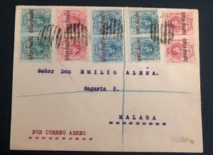 1920 Spain Early Airmail Cover To Malaga Overprinted Stamps