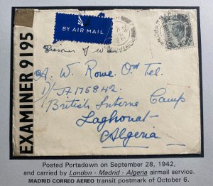 1942 Portadown North Ireland Airmail Censored Cover to Interment Camp Algeria