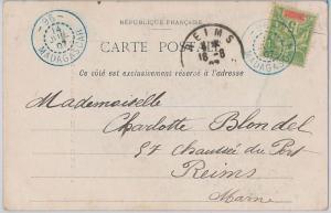 MADAGASCAR - POSTAL HISTORY: POSTCARD to FRANCE with postmark n. 96 DIEGO SUAREZ