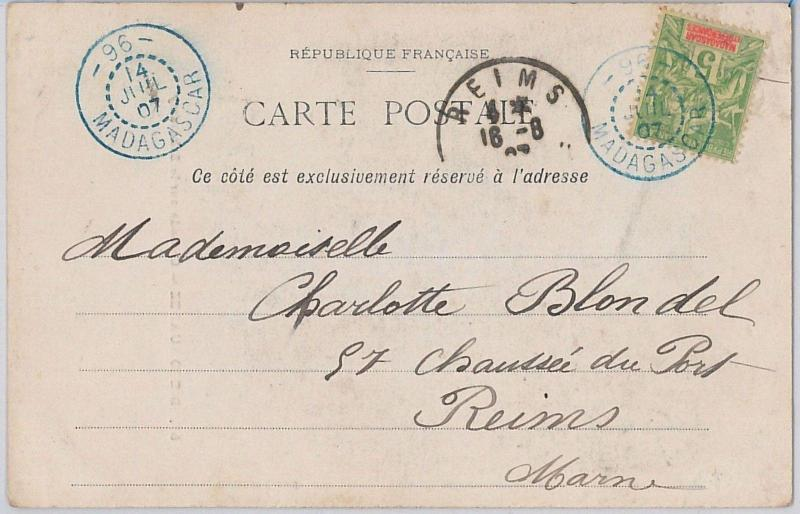 MADAGASCAR - POSTAL HISTORY: POSTCARD to FRANCE with postmark n. 96 DIEGO SUAREZ