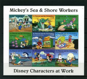 ST.VINCENT 1996 DISNEY MICKEY,S SEA & SHORE WORKERS SHEET OF 9 STAMPS MNH