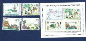 NORFOLK ISLAND - 452-456  - VF MNH - MUTINY ON THE BOUNTY - 1989