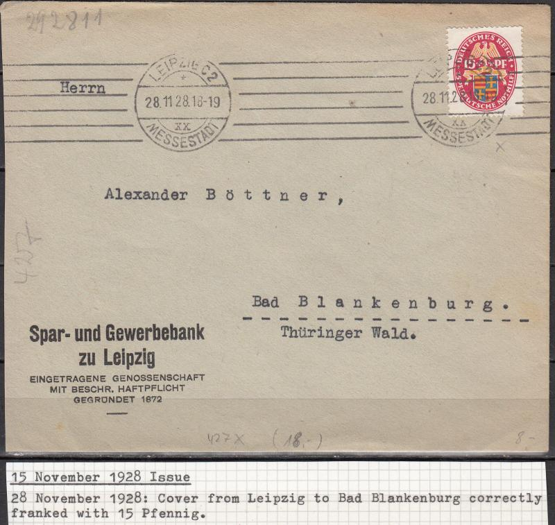 Germany - 28.11.1928 15pf Arms as single franking on cover Blankenburg  (1937)