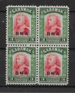 SARAWAK SG142 1945 BMA $3 CARMINE & GREEN MNH BLK OF 4
