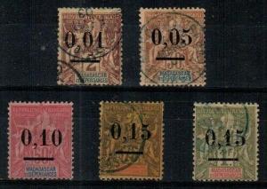 Madagascar Scott 51-55 Used (Catalog Value $43.25)