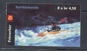 Norway Sc 1294a 2001 kayaking stamp booklet mint NH