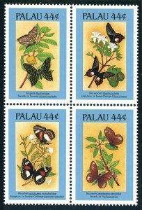 Palau 121B-121Ef block,MNH.Michel 168-171. Butterflies 1987.