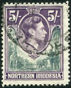 NORTHERN RHODESIA-1938-52 5/- Grey & Dull Violet Sg 43 GOOD USED V35937
