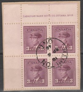 #252 Canada Plate Block #15  UL on paper