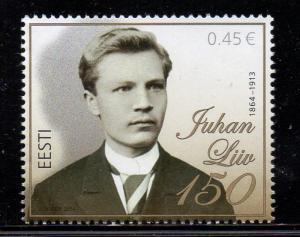 Estonia Sc 758 2014 Liiv Poet stamp mint NH