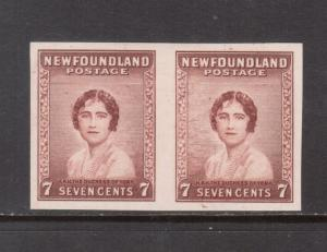 Newfoundland #208P Extra Fine Imperf Proof Pair On Bond Paper In Color Of Issue