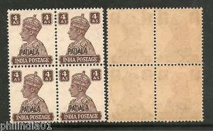 India PATIALA State 4As KG VI BLK/4 SG112 Cat £44 MNH