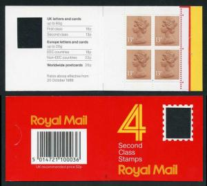 DB16(1)A 1988 52p Type 1A 4x13p CB Code E Plain Window Booklet