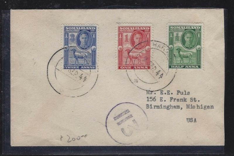 SOMALILAND COVER (PP0312B)   KGVI GOAT  12A+1A+2A  TO USA