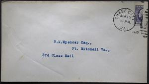 Cover - True 3 Cent Bisect to 1 1/2 Ct 3rd Class Mail rate - Chase Virginia S2
