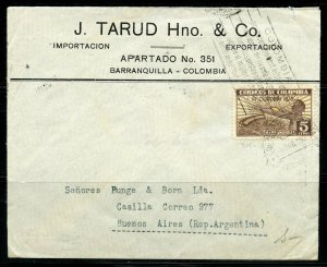 COLOMBIA BARRANQUILLA 2/5/1935 COVER TO BUENOS AIRES 4/4/1935 AS SHOWN
