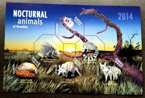 *FREE SHIP Namibia Nocturnal Animals 2014 Wildlife (ms) MNH *odd shape *unusual