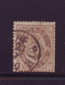 Norway Sc 22 1877 1 ore drab Post Horn stamp used
