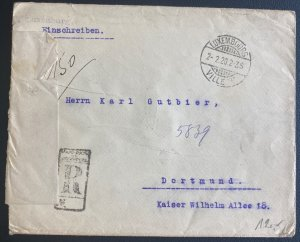 1920 Luxembourg Censored Red Wax Seal cover To Dortmund  Germany