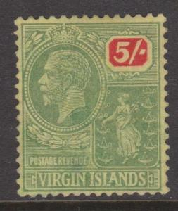 Virgin Islands KGV 1923 5 Shilling  Sc#66  VF Mint No Gum
