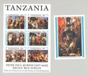 Tanzania #699-700 Rubens, Art 1v M/S of 6 & 1v S/S Imperf Proofs