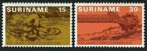 Surinam 419-420,MNH.Michel 687-688. Gold industry,1975.Panner,Modern excavator.