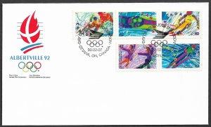CANADA 1992 ALBERTVILLE Winter Olympics Set Set Sc 1399-1403 U/A CACHET FDC