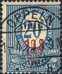 HAUTE SILÉSIE / OBERSCHLESIEN 1920 Mi.11a.IIIa 10pf/20pf - Used OPPELN